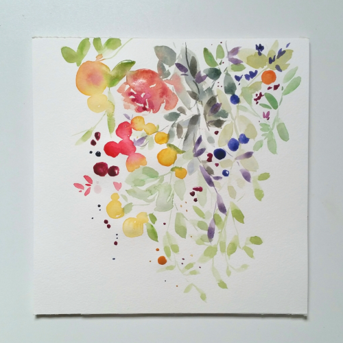watercolour painting flowers and fruit
