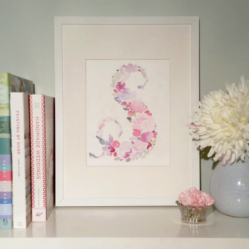 floral watercolour initial monogram wall art nursery decor