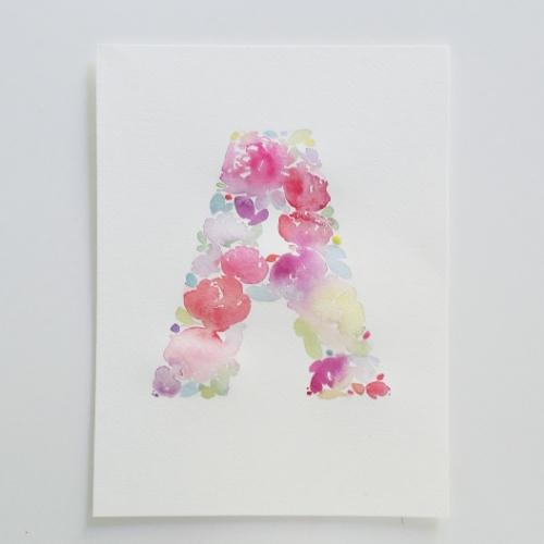 Watercolour Floral Monogram A