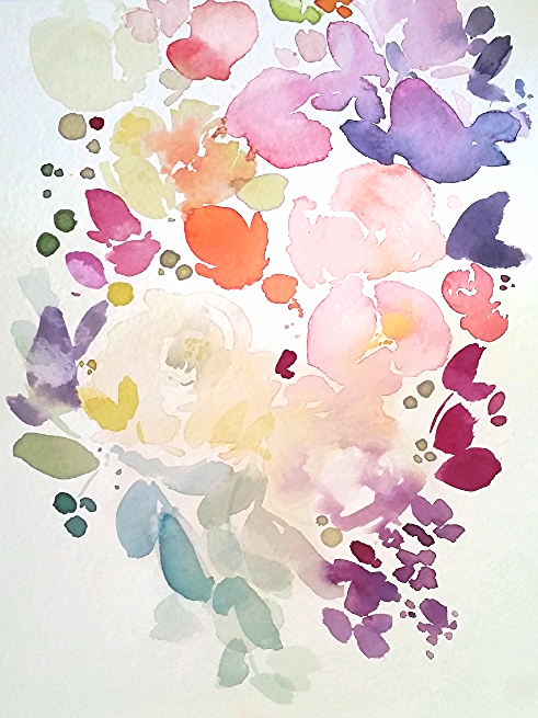 watercolour floral wildflowers bouquet