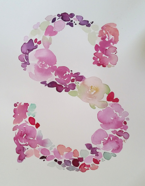 Watercolour Floral Monogram Letter S