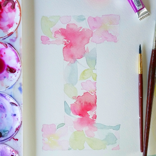 Floral Watercolour Initial