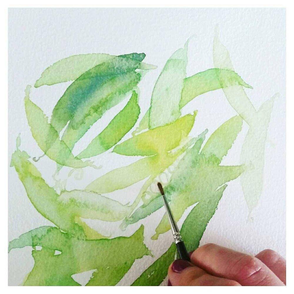 Watercolour sugar snap peas