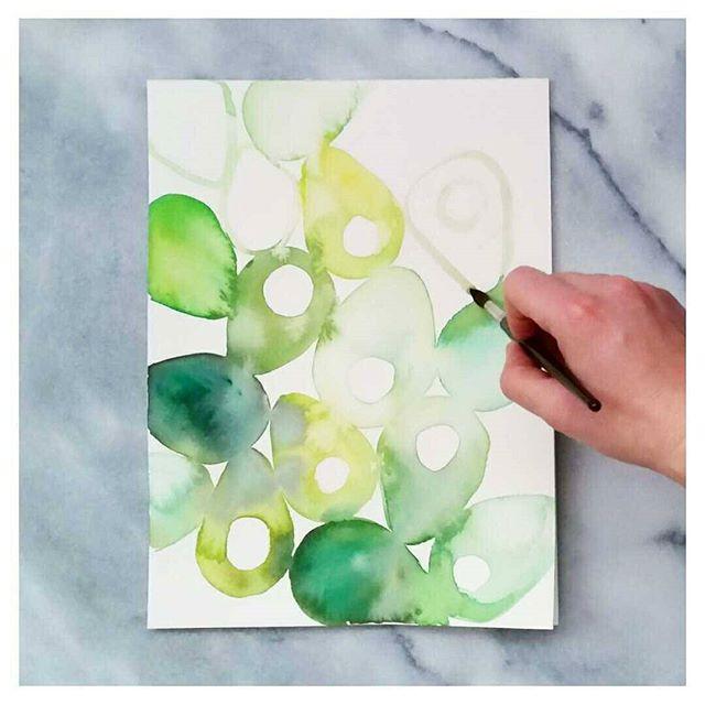 Abstract Watercolour Avocado
