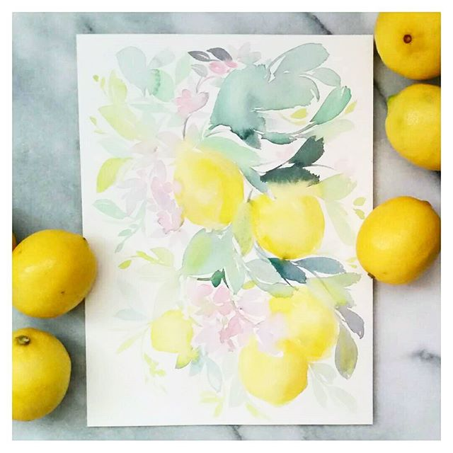 Lemons and blossoms tree branch watercolour painting