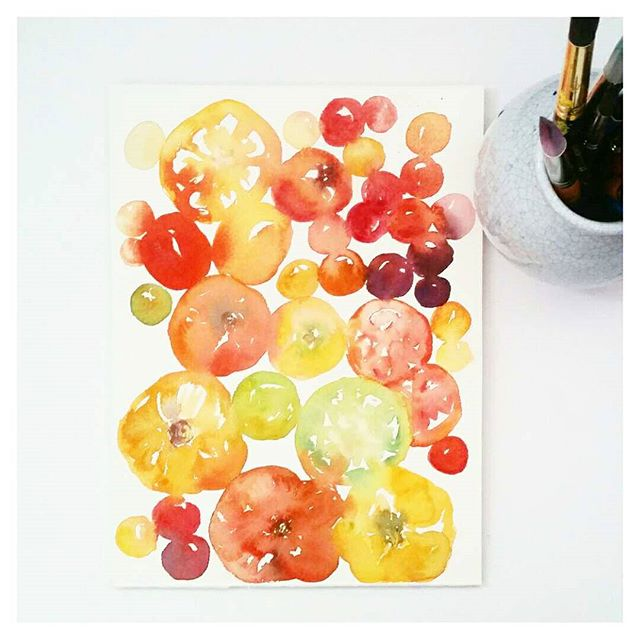 Watercolour tomatoes