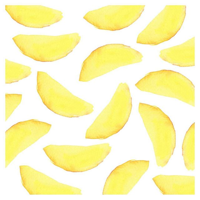 Watercolour mango slices