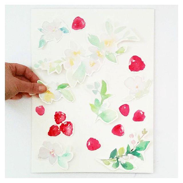 watercolour raspberry pattern design