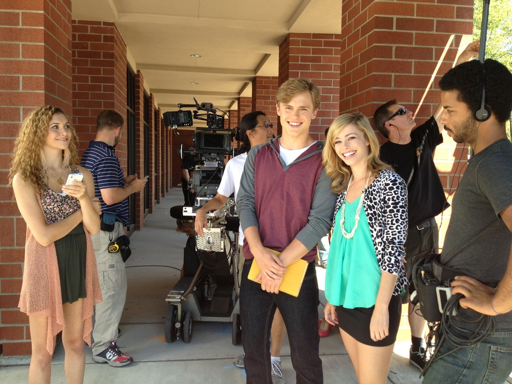 Alyson Stoner, Jack DePew, and Skyler on set of The A List