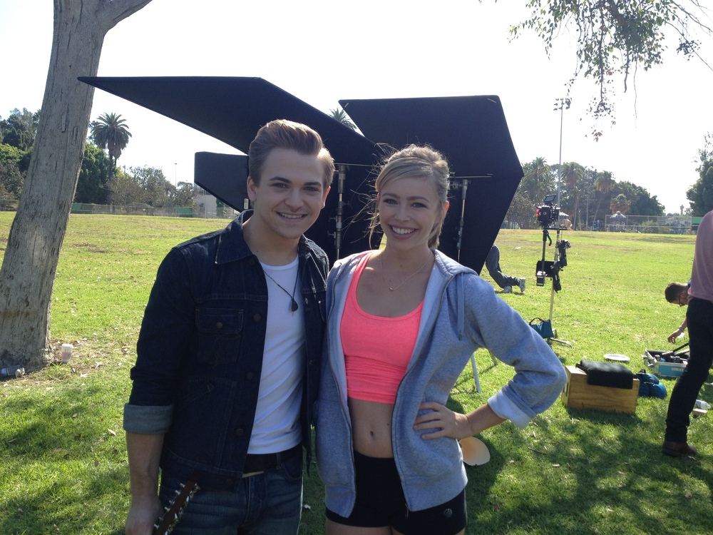 Hunter Hayes and Skyler on set for Everybody's Got Somebody But Me