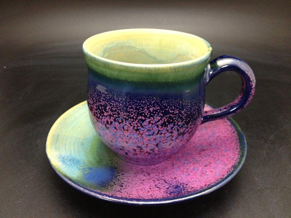 黃玉英 薰衣草花田釉 咖啡杯組