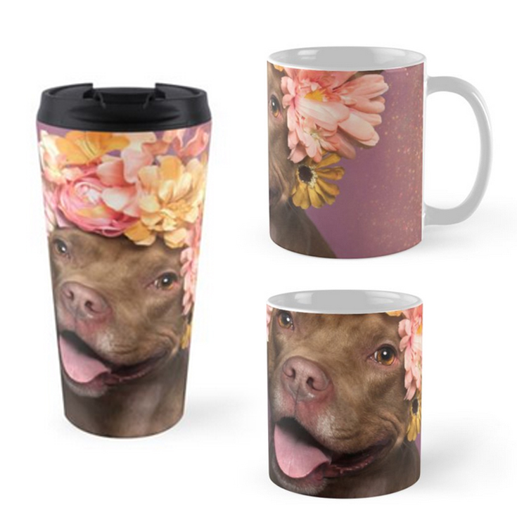 MUGS and TRAVEL MUGS.  3 models (standard, tall with a V shape, and travel size). Feature wraparound prints. Dishwasher safe. Mugs are made from Ceramic, travel mugs feature insulated stainless steel with removable lid.