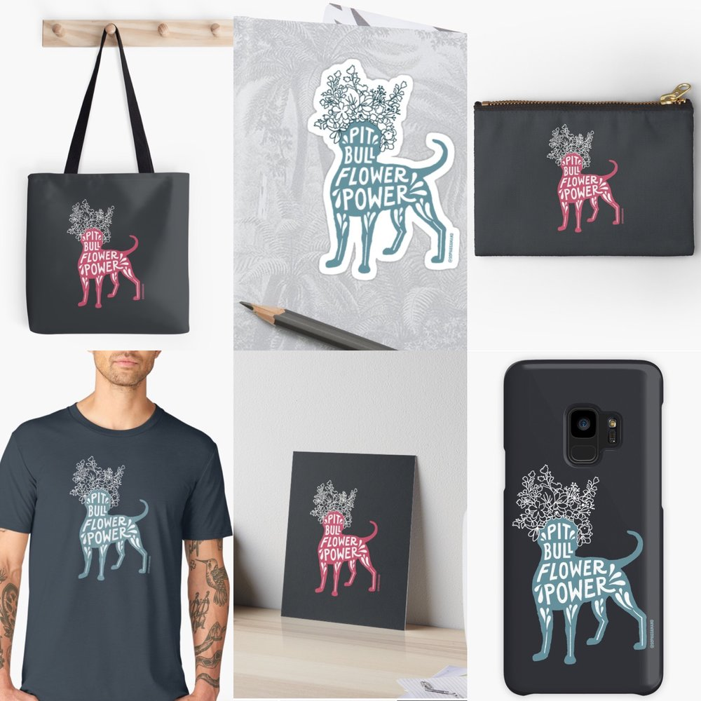 Special collection - PIT BULL FLOWER POWER design special edition. Clothing (incl. T-shirts, hoodies, baby clothes), prints, cards, phone cases, stickers, and many products featuring a pink or a teal version of this adorable Pit Bull Flower Power design. Ships worldwide via RedBubble.