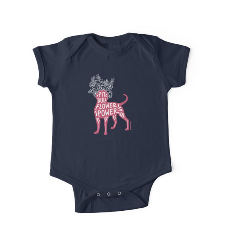 KIDS T-SHIRTS AND BABY CLOTHES.  Only available with this special Pit Bull Flower Power design, in  pink  or  teal . Ethically sourced. Made to order and shipped worldwide via RedBubble.