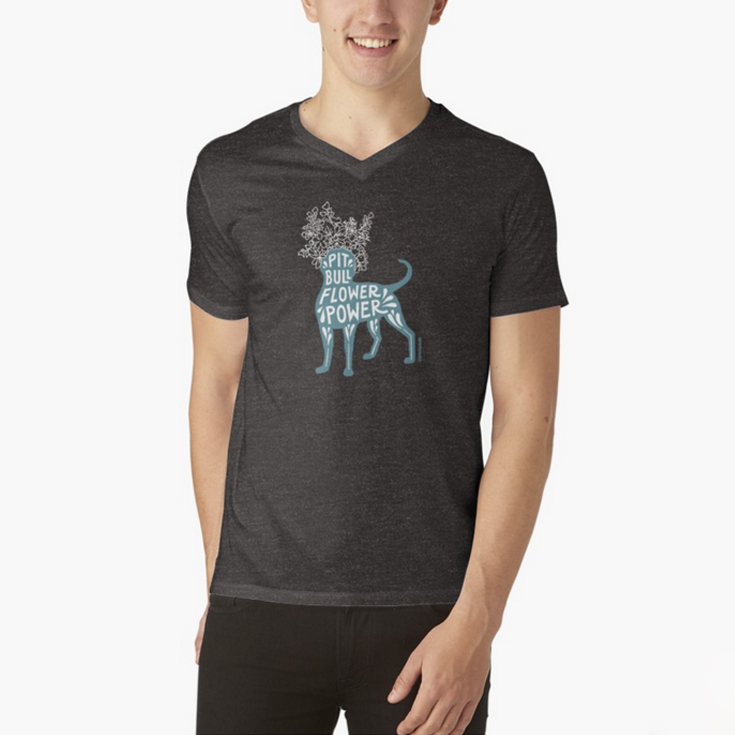 MEN'S V-NECK T-SHIRT. S to 2XL.  Several colors available. Solid color t-shirts are 100% cotton; heather grey t-shirts are 90% cotton, 10% polyester; charcoal heather t-shirts are 52% cotton, 48% polyester. Ethically sourced. Slim fit, but if that's not your thing, order a size up.