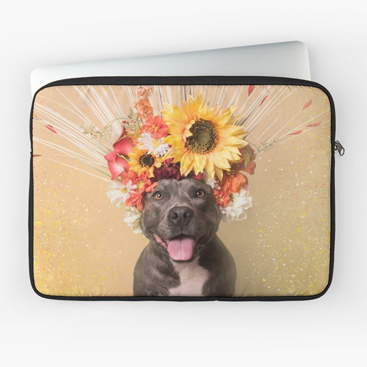 LAPTOP SLEEVES.  Custom front print and black rear. Polyester cover and foam padding protects from scratches and minor impacts. Black edging, black zip, black plush padded inside. Easy clean with a damp cloth.