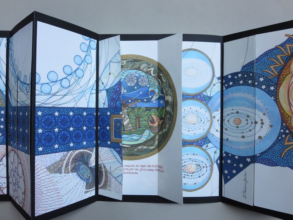As the book unfolds, each page turn opens onto an altarpiece which contains a representation of one of the creation stories
