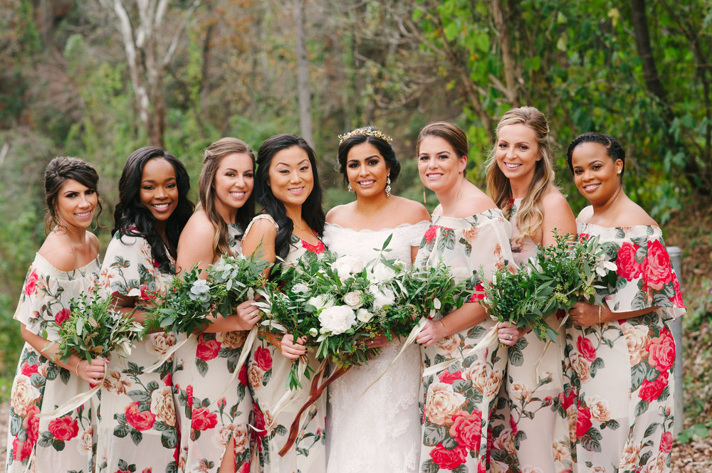 Rosalina's beautiful bridal party! Hair by Renee Locher Makeup and Hair.