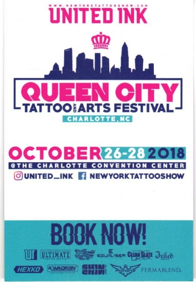 We are super excited to have a booth at the first Queen City Tattoo and Arts Festival October 26-28 @ the Charlotte convention center. Be sure to stop by the Sink or Swim booth and show some love and support for your local tattoo artists :) :)   www.newyorktattooshow.com