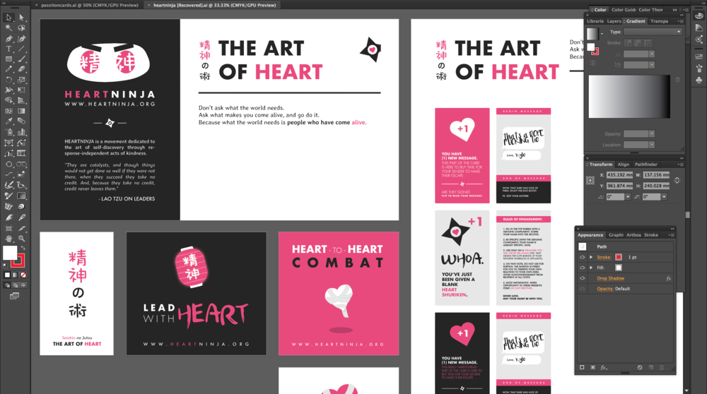 "Early iteration of branding ideas. ""Heart Ninja"" came from the idea that users were practicing the act of giving without expecting to be given credit. Loving from the shadows, so to speak."