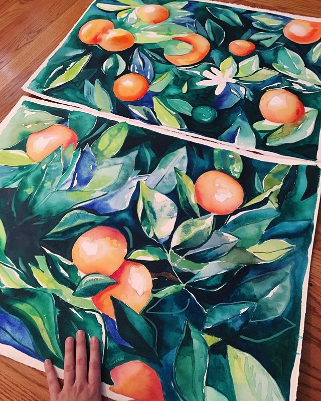 Here's two orange paintings. And my hand (so you can tell how big they are!)