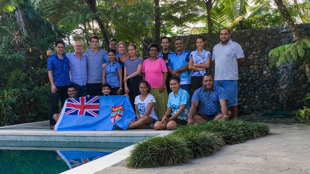 From Left To Right Top : Colin Bentley, Peter Rankin, Tualagi Nokise, Shyal Prasad, Ben Lutua, Sophie Rankin, Imogen Fong, Joana Valamalua, Robert Chan, Parik Nath, Vikatoria Nikola, Joshua Savu   From Left To Right Bottom:  Sean Patrick, Praveel Harak, Miliakere Toganivalu, Manaini Bulu, Josaia Naitini.  Absent:  Nanise Tikoicina, Roselyn Cikamatana,
