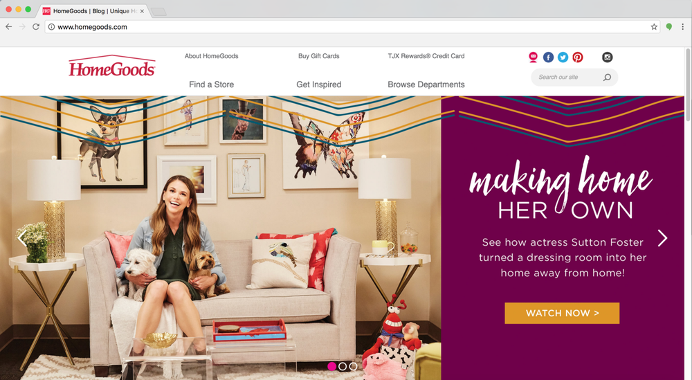 We posted Sutton s video on HomeGoods  homepage and blog and created a full  social and digital campaign around our launch. HomeGoods   Make Home Yours   KATHERINE BORAH