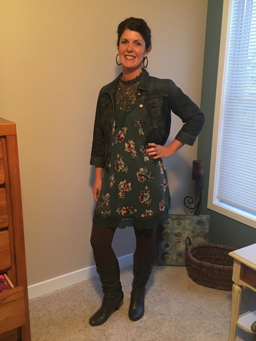 dress layered with jacket, leggings, and boots