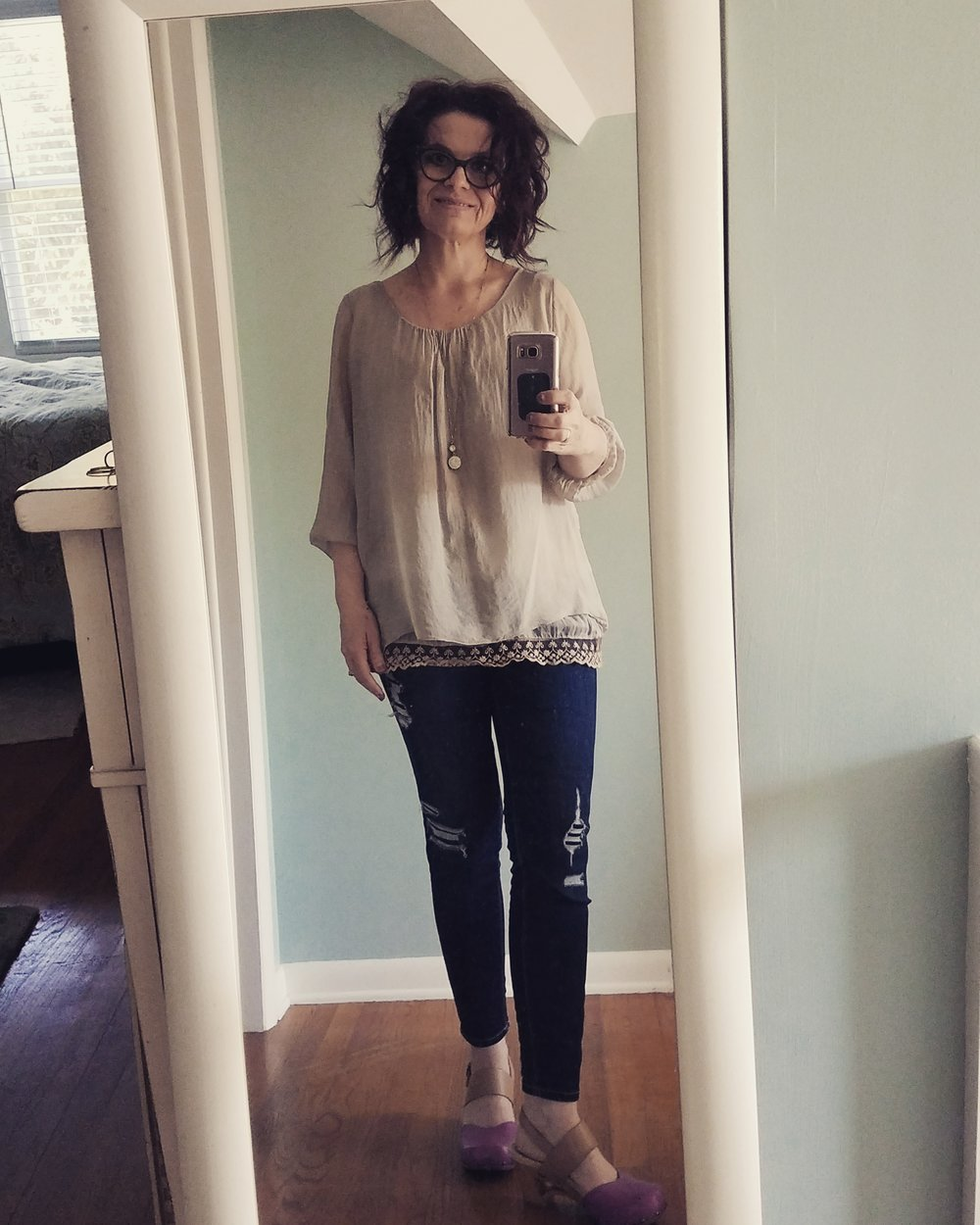 Closet try-out with a top