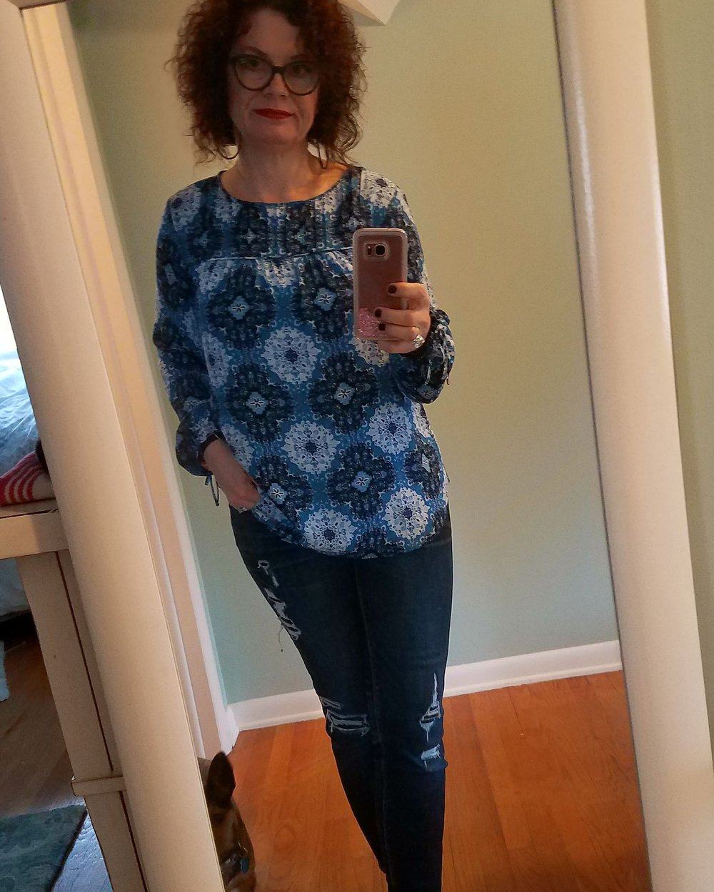 Adding a pop of color to a dreary January day is a must as we work our way thru the rest of Winter.  I will wear this top easily in the Spring with a lighter pant for sure!