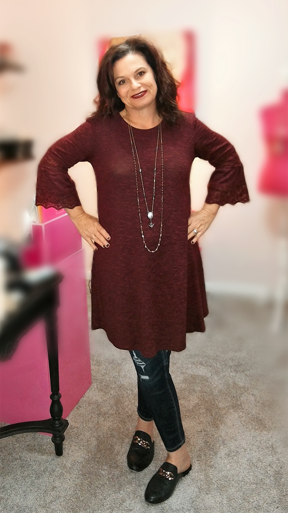 Dress with Jeans - If you follow me, you know wearing a dress with jeans, especially skinny jeans, is one of my favorite looks. I've paired the dress here with a darker jean and my mules for a casual, yet dressier feel. Perfect for date night or a night out with friends.