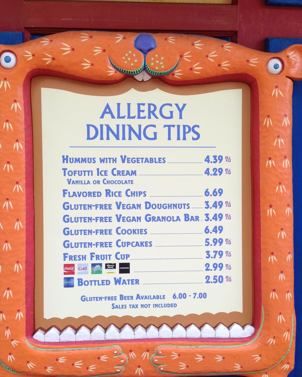 Healthy snack options at Animal Kingdom