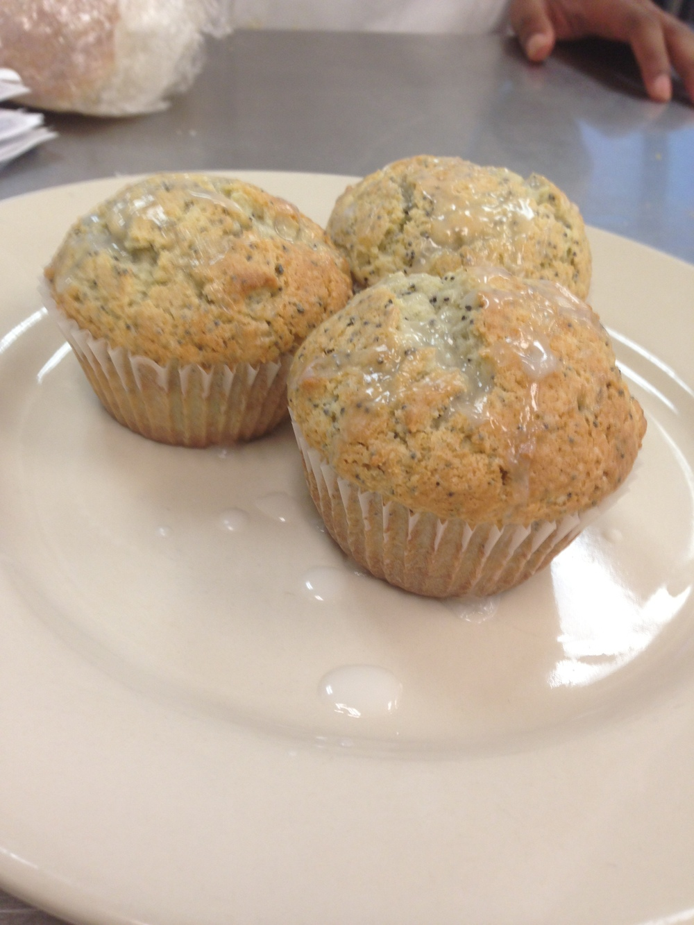 Lemon poppy seed muffins with a lemon glaze