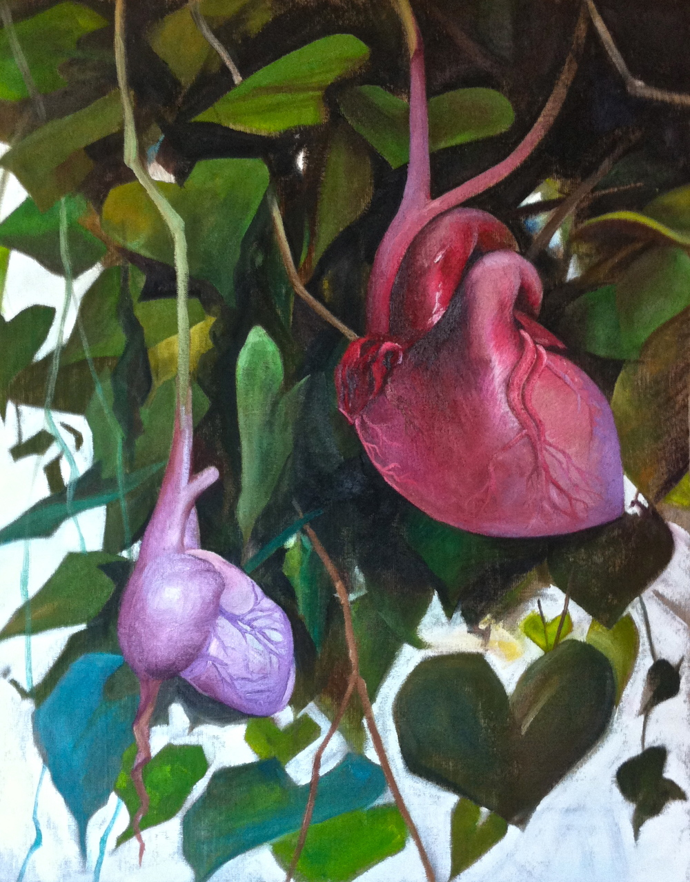 Katherine Rutecki,  With a Hanging Heart,  oil on linen, 42x60cm, 2013