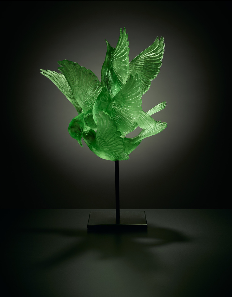 Katherine Rutecki,  Green,  lost wax cast crystal, steel mount, 43x43x69cm, 2011