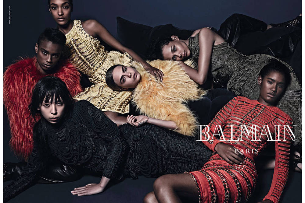 Balmain Model: Ysaunny Brito, Cara Delevingne, Jourdan Dunn, Issa Lish, Kayla Scott, and Binx Walton Photographer Mario Sorrenti  Source: Balmain