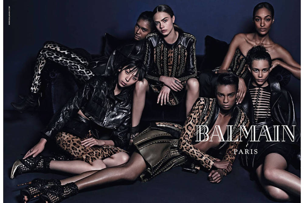 Balmain Model: Ysaunny Brito, Cara Delevingne, Jourdan Dunn, Issa Lish, Kayla Scott, and Binx Walton Photographer Mario Sorrenti Source: Balmain