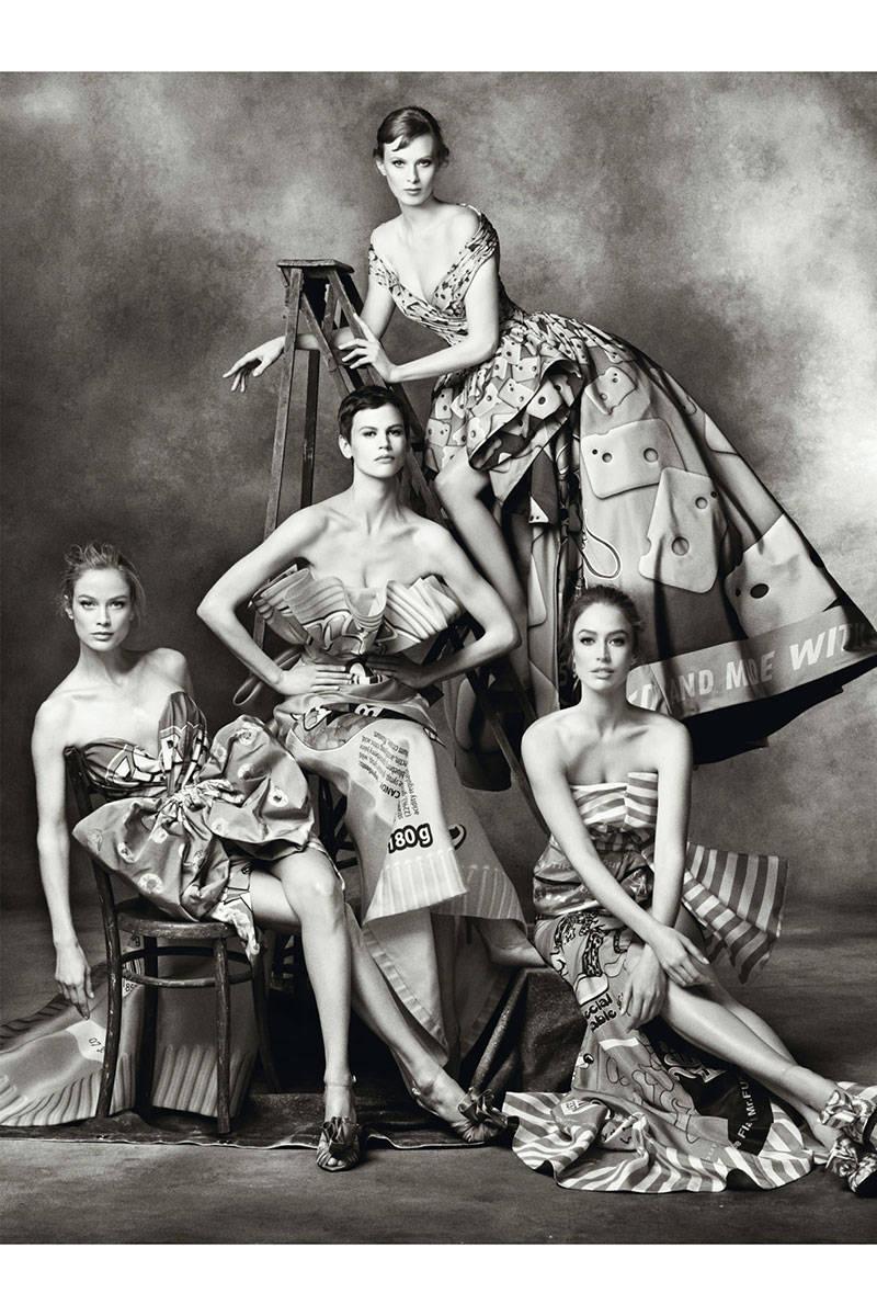 Moschino Models: Carolyn Murphy, Saskia De Brauw, Karen Elson, Raquel Zimmermann. Photographer: Steven Meisel Source: Moschino