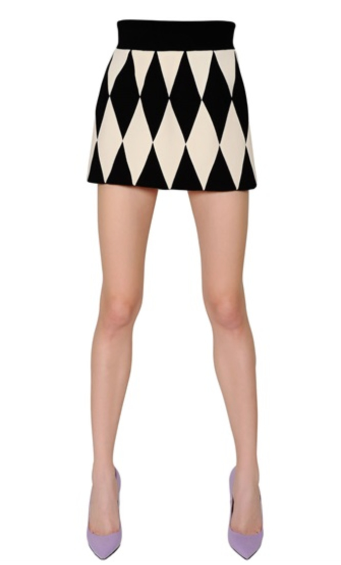 Diamond Pattern Wool Crepe Skirt • Fausto Puglisi