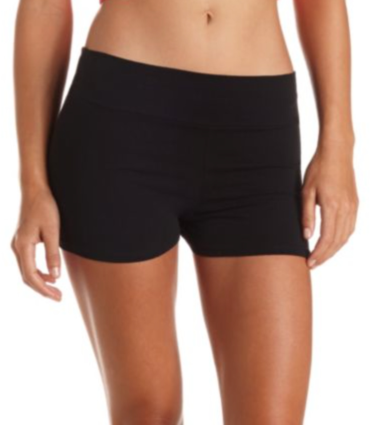 High-Waisted Cotton Spandex Shorts • Charlotte Russe