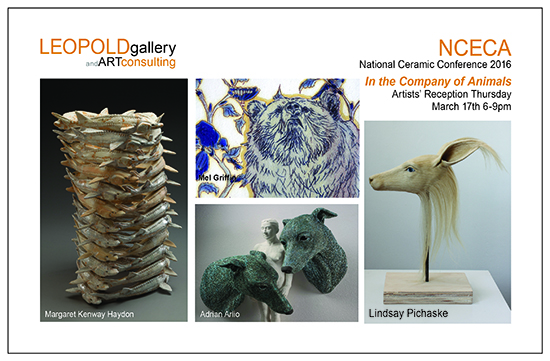 I will be exhibiting new work in the exhibit,  In the Company of Animals , curated by Margaret Kenway Haydon, in conjunction with the NCECA conference. Leopold Gallery, Kansas City, MO.