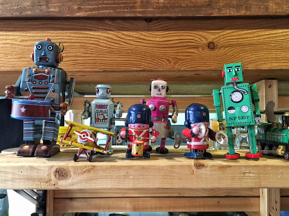 Toy robots everywhere.