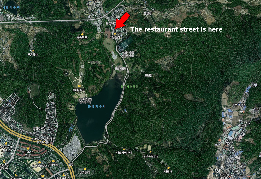 The arrow points to the restaurant street.