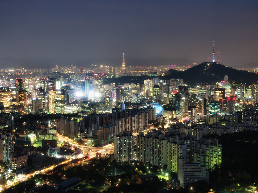 Night view of N Seoul Tower and Lotte World Tower.