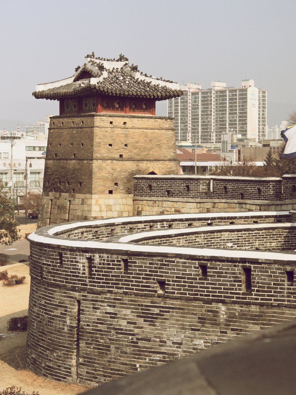 Wall and guard tower, January 2012.