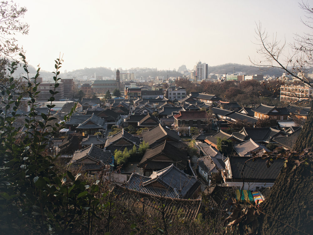 The Hanok Village seen from the hill near Omokdae.