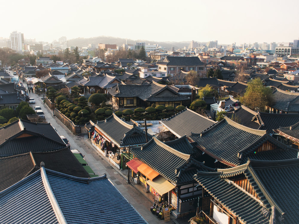 An overview of the Hanok Village.