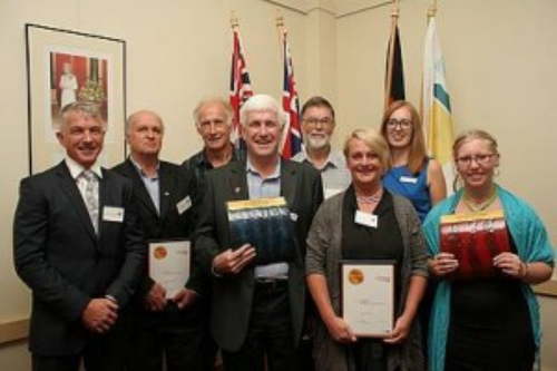 Leading citizens: from left, Bass MLA Brian Paynter, with award nominees John Duscher, Ewan Cole, citizen of the year Jeff Nottle, Tony Hughes, Fiona Passarin, Bass Coast Shire mayor Cr Kimberley Brown and young citizen of the year Jess Paulson.