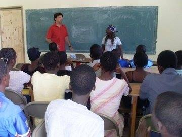 Mark teaching to the communities of Haiti.