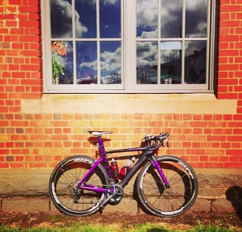 Post Rapha Women's 100 up in Kyneton 2014- bike stays out while I drink coffee